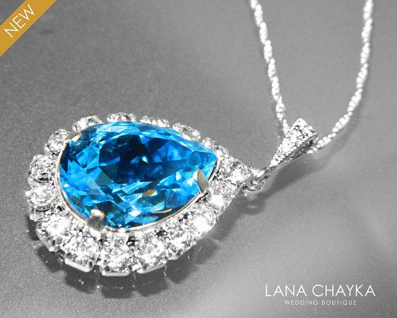 Well-known Aquamarine Halo Crystal Necklace Swarovski Aquamarine Rhinestone  TC95