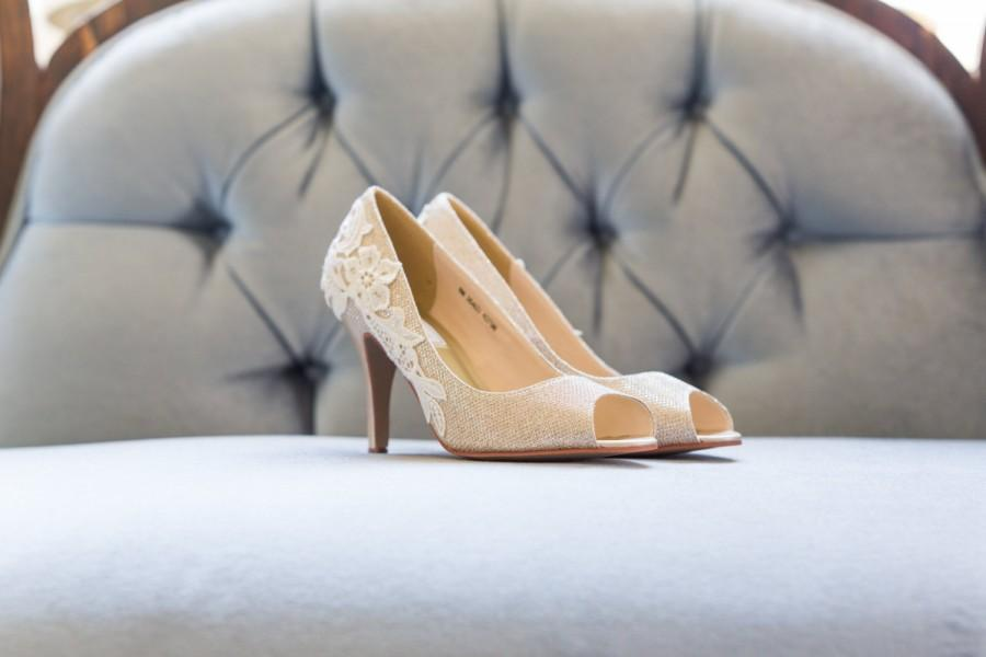 Gold Wedding Shoes Heels Bridal Lace Pumps Sparkle With Ivory Us Size 9 5