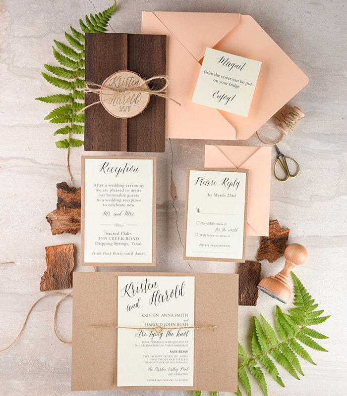Rustic Wedding Invitation And Rsvp 20 Real Wood Suite Stamped Set With