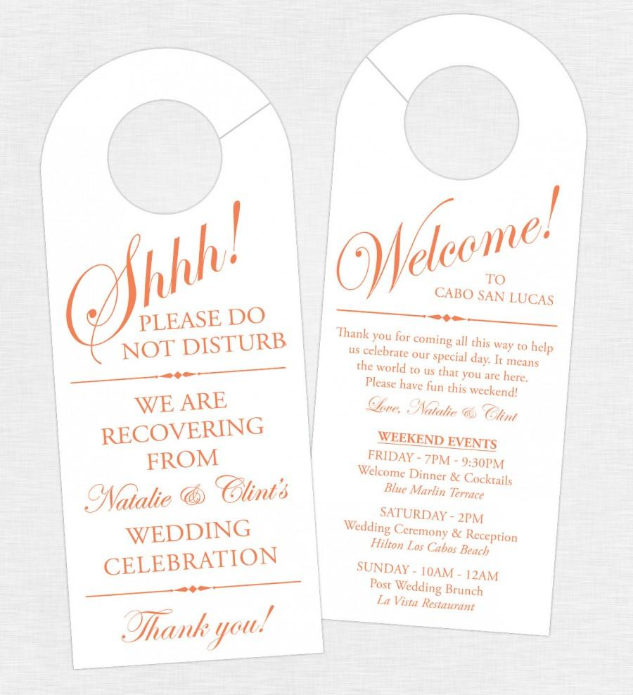 Finest Set Of 10 - Double-Sided Door Hanger For Wedding Hotel Welcome Bag  NX11