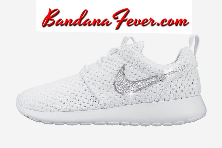 Nike Bling Roshe Run Women S White Metallic Platinum Swoosh Mrs Wedding Shoes Crystal Rhinestone By Bandana Fever