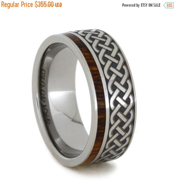 Wedding Anium And Ironwood Eternity Band With Engraved Celtic Pattern For Men Women Ring