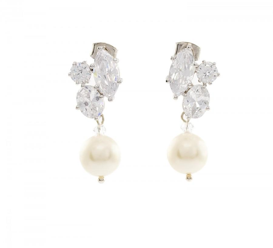 Bridal Pearl Drop Earrings Crystal Wedding Jewelry Cz With Small Dangle Bridesmaid Gift