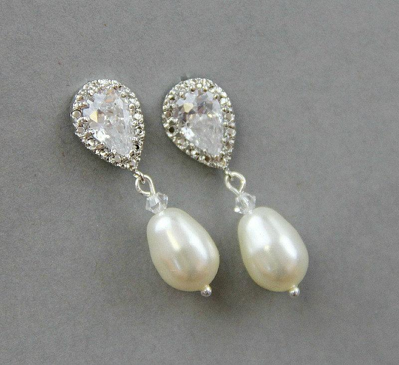 Bridal Earrings Wedding Pearl Crystal Ivory Drop Bridesmaid