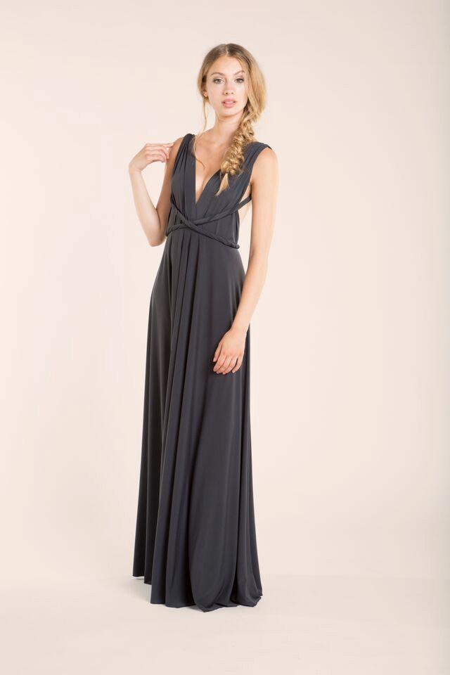 Sleeveless Dark Grey Maxi Dress Long Gray Formal Prom Dresses Women Party