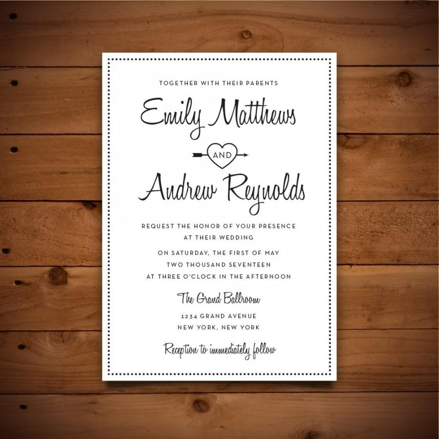 Printable Vintage Style Wedding Invitation Template - Dark Grey