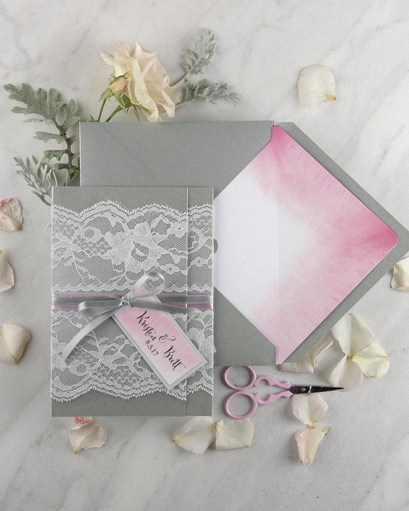 Boho Wedding Invitations 20 Ombre Watercolor Invites Lace Invitation Pink Grey