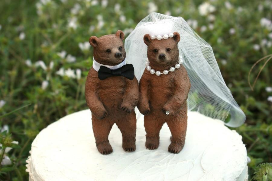 brown bear wedding cake toppers wedding cake topper lover rustic wedding 12190