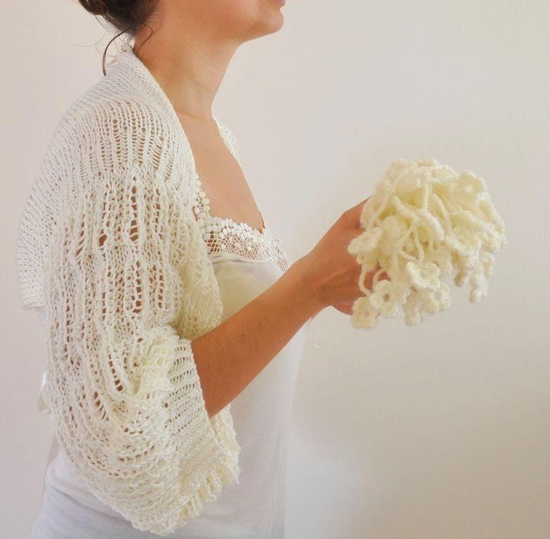 Ivory Shrug Bolero Bridal Wedding Accessories Shrugs Boleros Soft Elegant Hand Knit