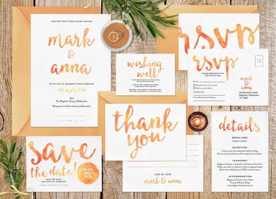 Wedding Invitation Set Summer Printable Stationery Rsvp Postcard Details Card