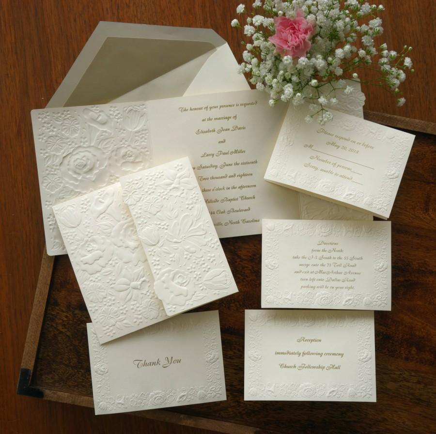 Fl Embossed Wedding Invitation Set Raised Print Invite Elegant Suite Custom Av471