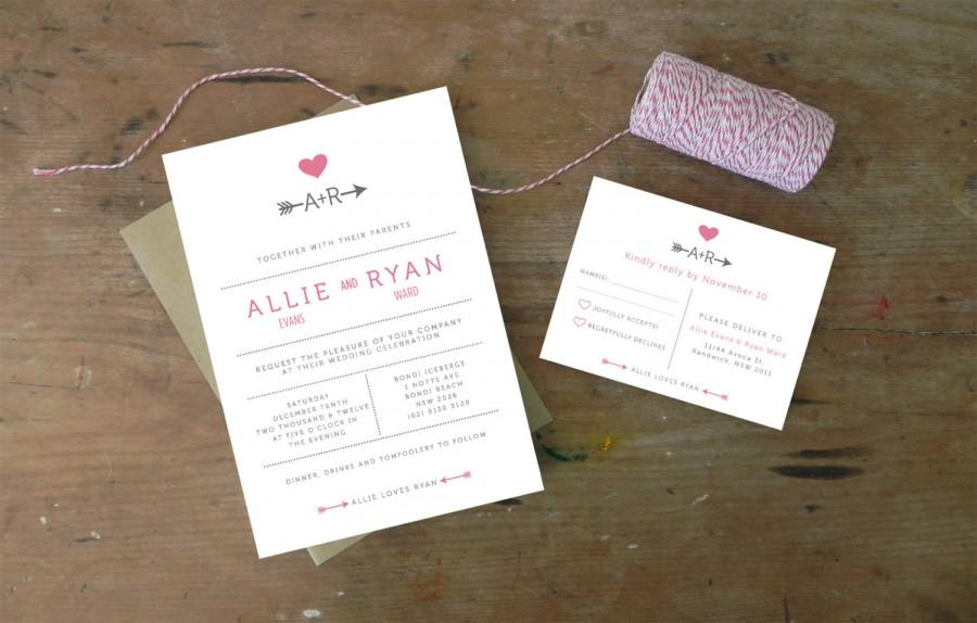 Diy Printable Wedding Invitation Cupid 4 Pieces