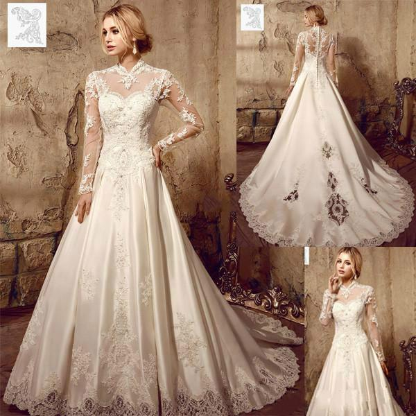 Designer Illusion Long Sleeve Wedding Dresses 2016 Lique Lace High Collar Sweep Train Vintage A Line Bridal Gowns Ball Dress Online With 117 02 Piece On