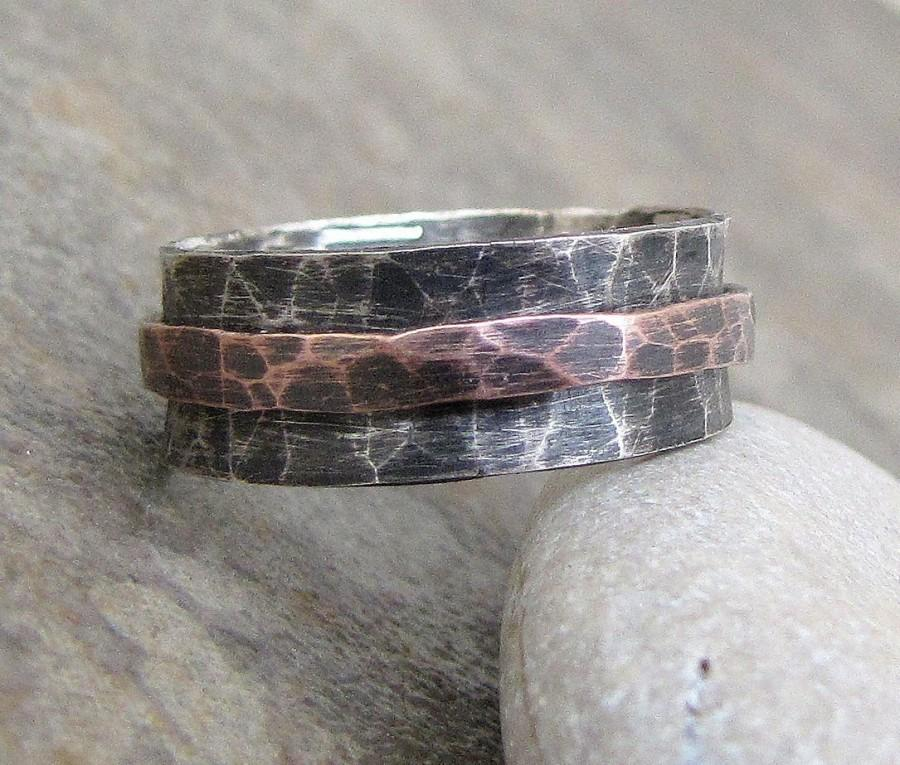 Silver Spinner Ring Copper Hammered Mens Wedding Band Rustic Rings Unique Bands Gift For Him