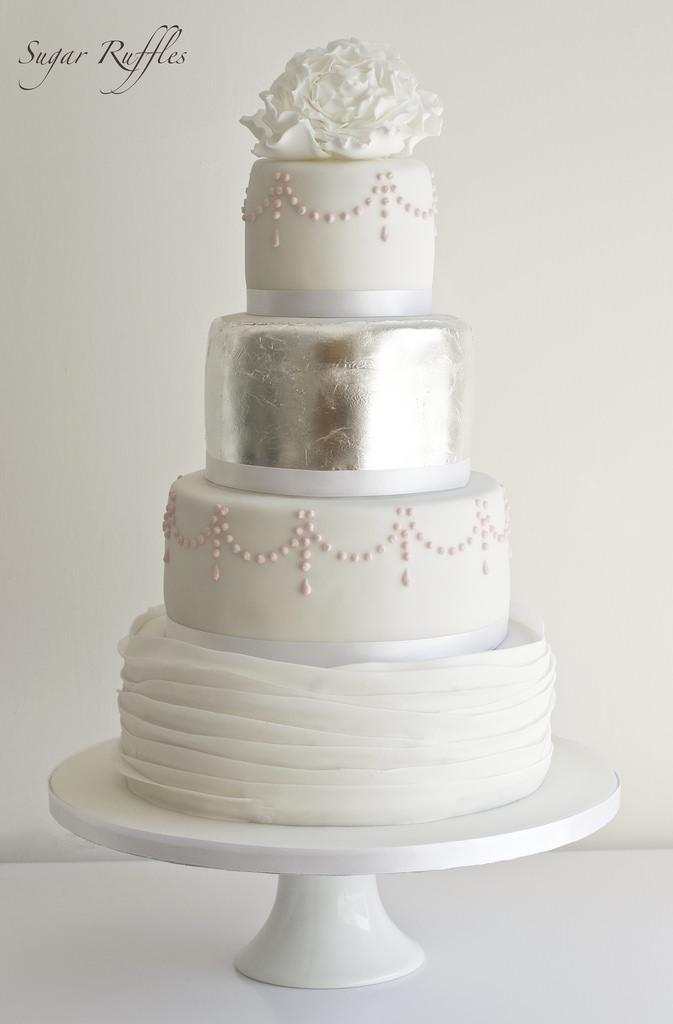 silver wedding cake pics food amp favor silver leaf wedding cake 2484397 weddbook 19880