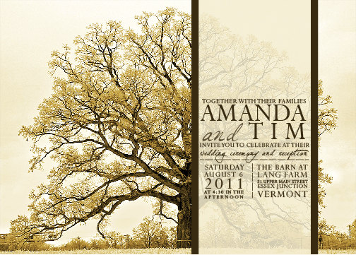 Vintage Tree Wedding Invitations Inkoverpaper