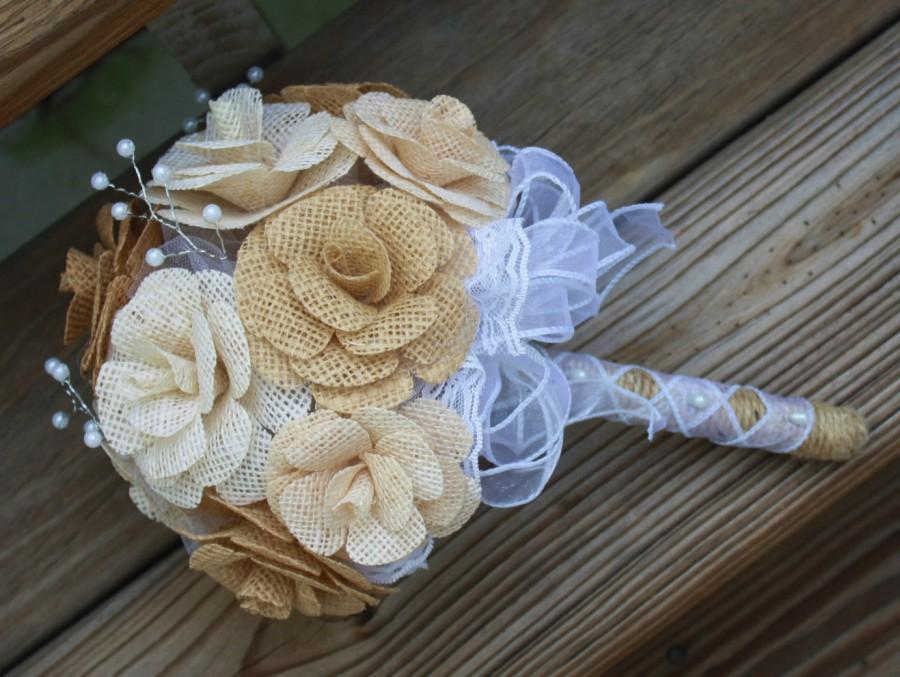 Burlap Bouquet Bride Bridesmaid Keepsake Wedding Rustic French Country Outdoor Beach Barn Decor