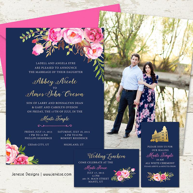 Pink Fl Gold And Navy Wedding Invitation Set