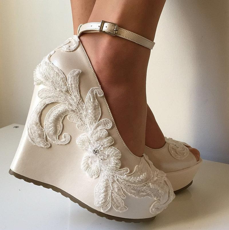 Wedding Wedge Shoes Bridal Platform Wedges Ivory Shoe