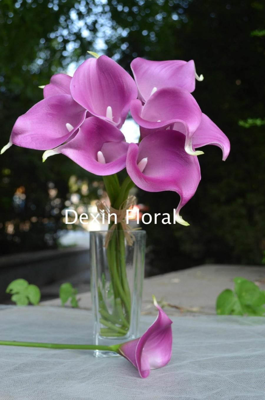 Real Touch Light Purple Calla Lilies For Lavender Silk Wedding Bridal Bouquets Centerpieces Decorations Flowers Package 9pcs Set