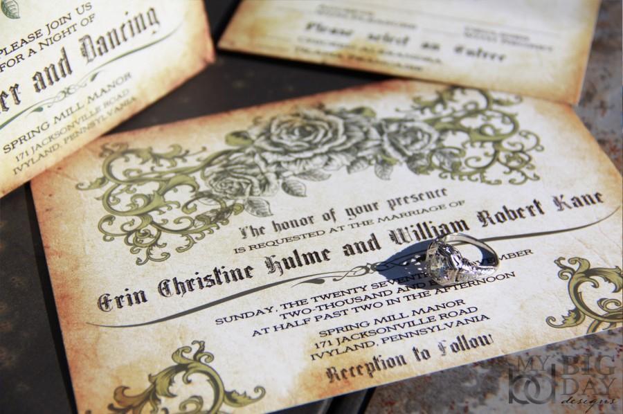 Vintage Rose Wedding Invitations Antique Parchment Design