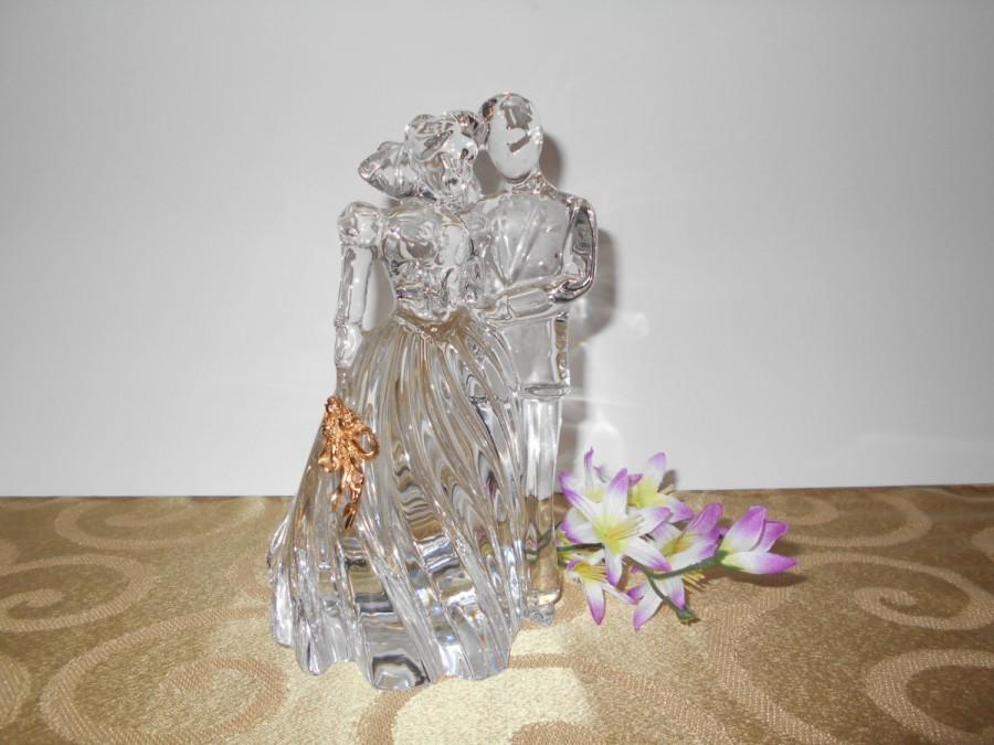 crystal bride and groom wedding cake toppers vintage 80 s led glass lenox groom cake 13104