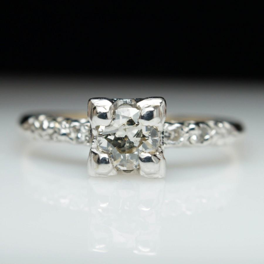 1940s Engagement Ring Unique Diamond Vintage Antique Old European Cut Illusion Mixed Metal