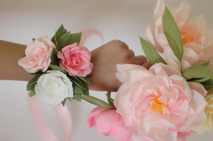 Wedding Corsage Flower Bracelet Mom Bridesmaids Bracelets Paper