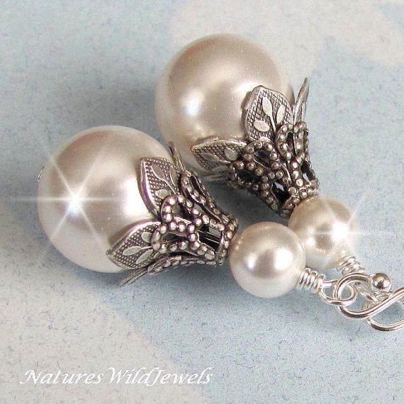 Bridal Pearl Earrings Vintage Style Wedding White Ivory Jewelry Bridesmaids Antique