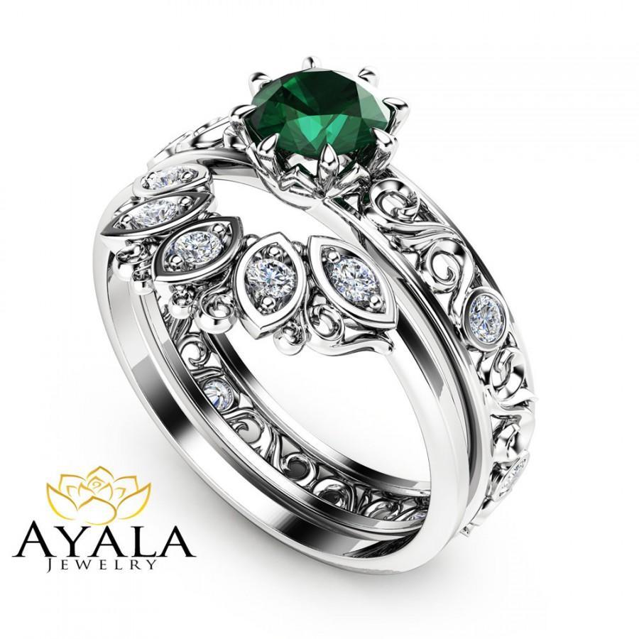 Popular 1/2 CT Natural Emerald Engagement Ring Set 14K White Gold Rings  YL21