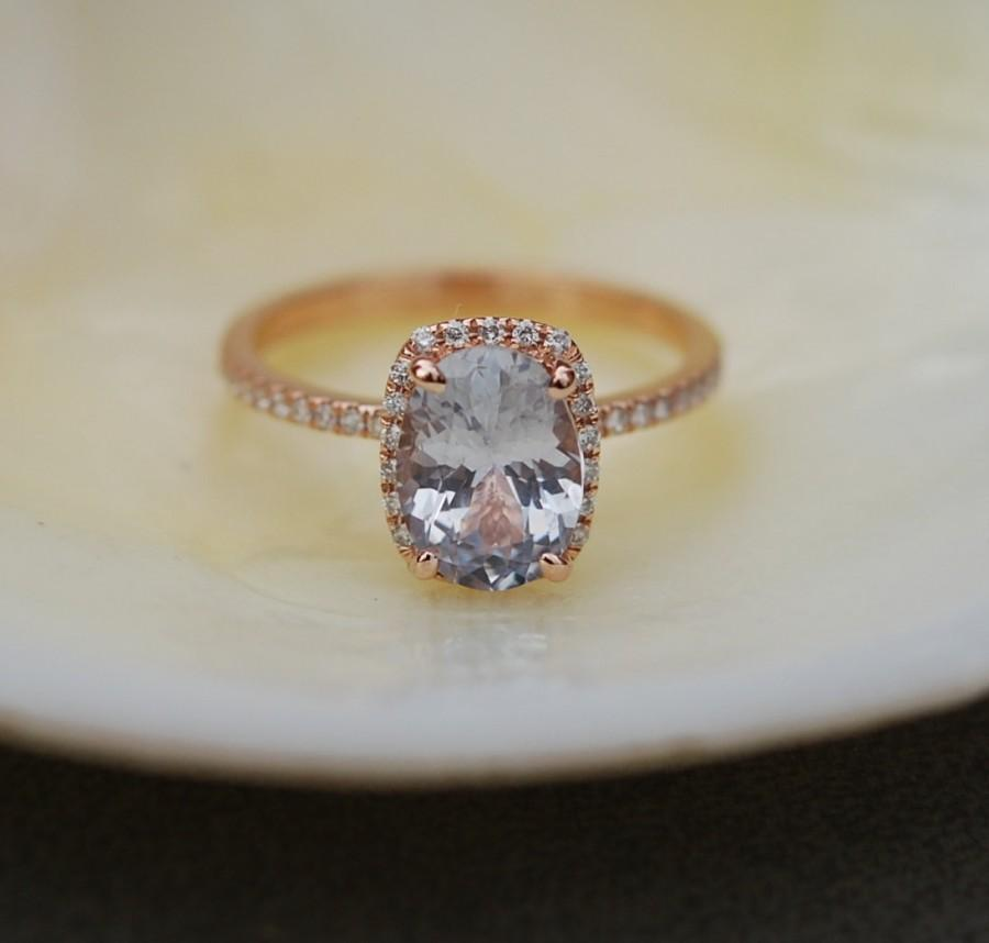 Smokey Champagne Shire Engagement Ring 14k Rose Gold Diamond 2 1ct Cushion Ice Peach By Eidelprecious