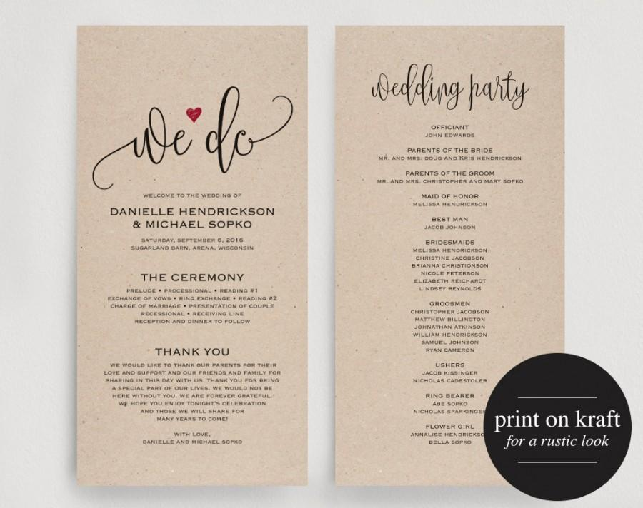 Wedding Program Editable Template We Do Printable Ceremony Kraft Red Pdf Instant