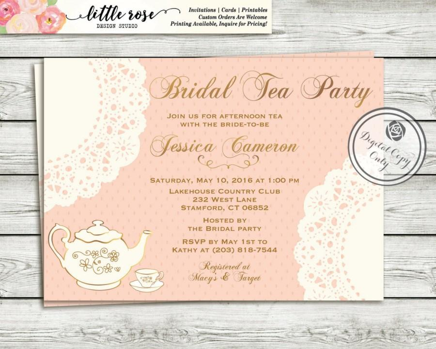 Tea Party Bridal Shower Invitation High Invite Luncheon Printable Digital File Lr1002