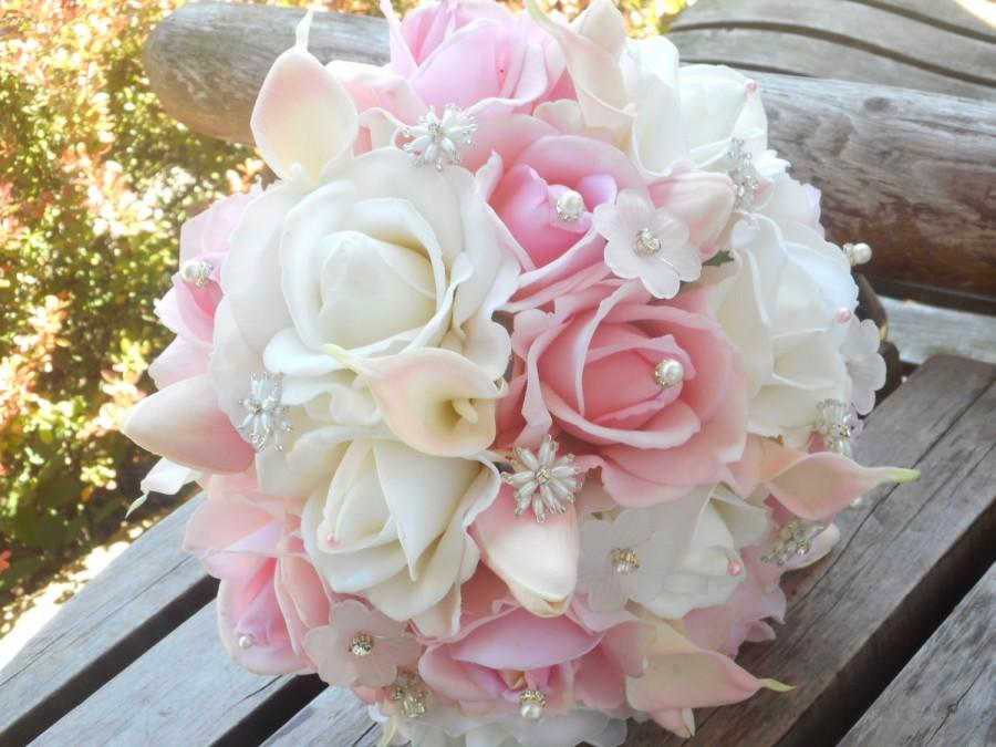 Blush Pink Bridal Bouquet White Real Touch Rose Calla Lily Tulip Chic Silk W Grooms Boutonniere Wedding Flowers