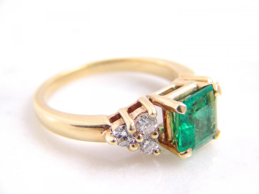 Vintage Colombian Emerald Diamond Engagement Ring 14K Yellow Gold