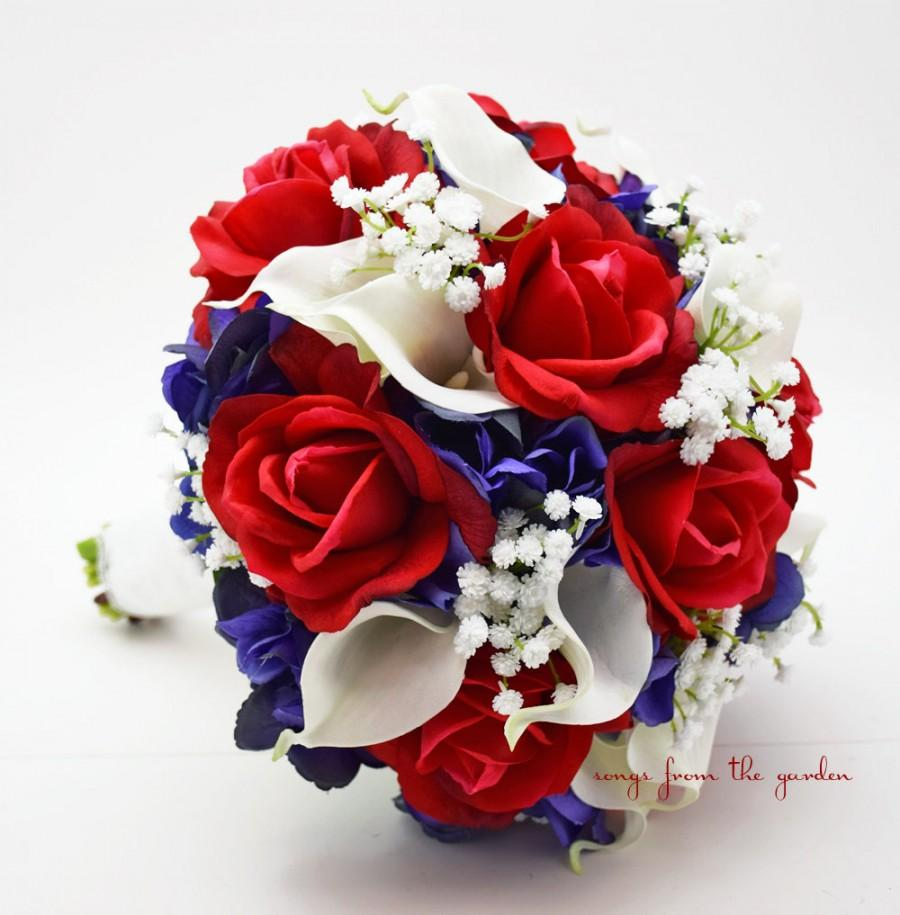 Red White Blue Bridal Bouquet Roses Hydrangea Calla Lilies Baby S Breath Wedding Silk Flower Real Touch And