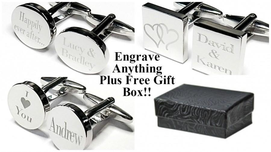 Silver Engraved Wedding Cufflinks Personalised Date Groom Best Man Usher Custom Office Christmas Gift