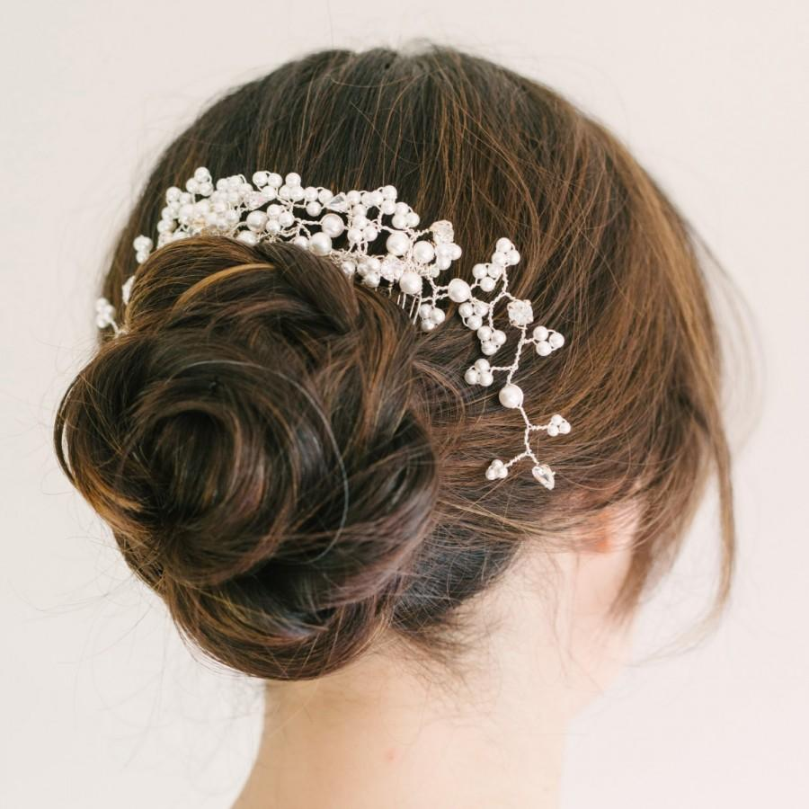 stunning pearl and diamante trailing bridal comb, bridal headpiece