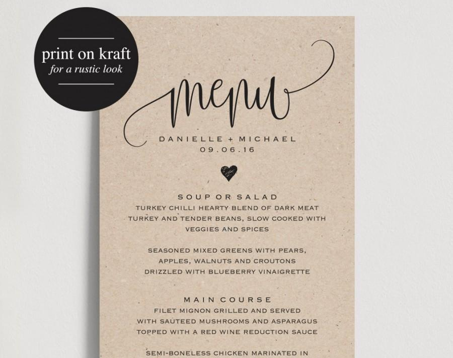 Rustic Wedding Menu Template Cards Printable Dinner Pdf Instant