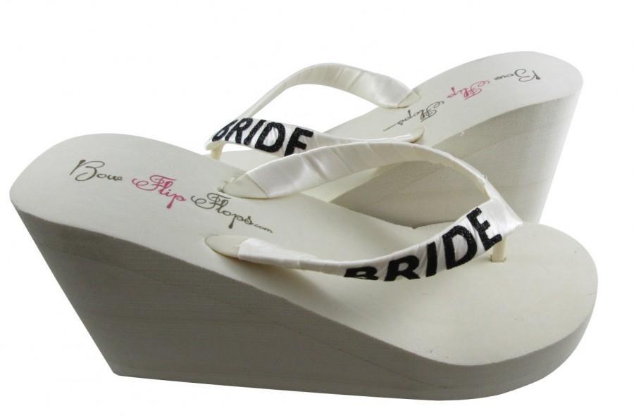 Bride Wedge Flip Flops Ivory Black Glitter Wedding Sandals White Shoes Bridal Platform Heel Brides