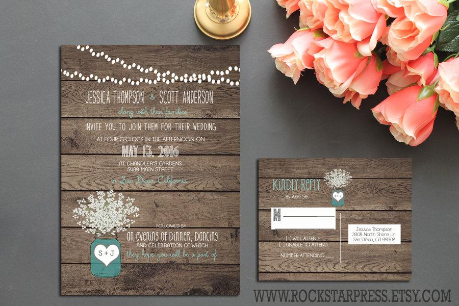 affordable wedding invitations rustic jar wedding invitation suite rustic country 1233