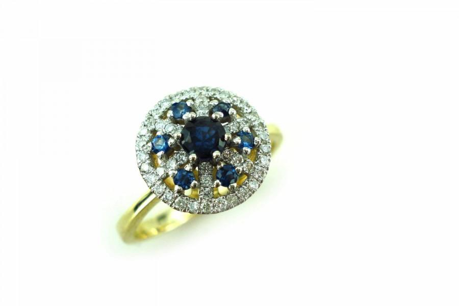 Sapphire Ring Diamond And Sapphire Gold Ring Engagement Ring
