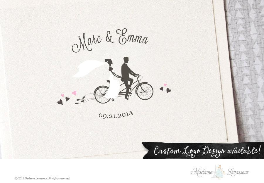Premade Wedding Monogram Logo Save The Date Design Custom On Bike