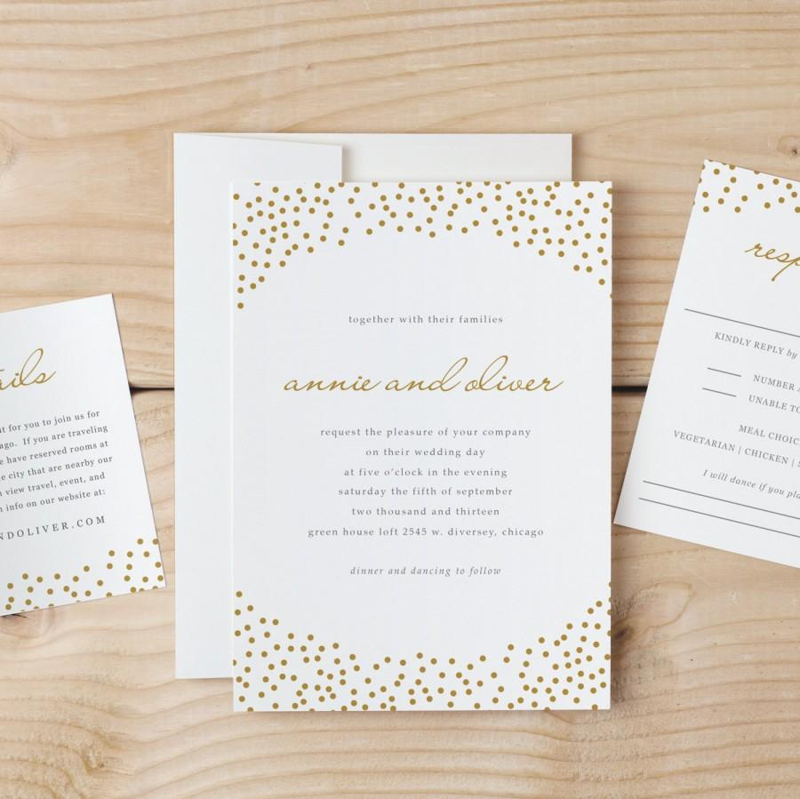 Wedding Invitation Template Download - Gold Dots - Word Or Pages
