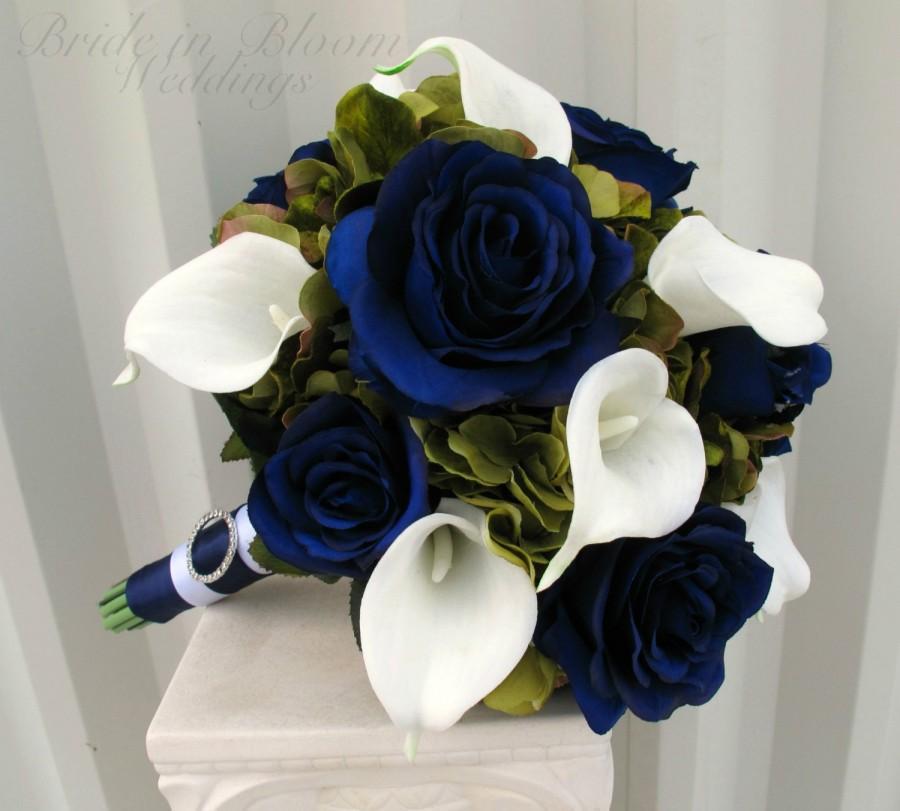 Sage Green Navy Wedding Bouquet Blue Rose White Calla Lily