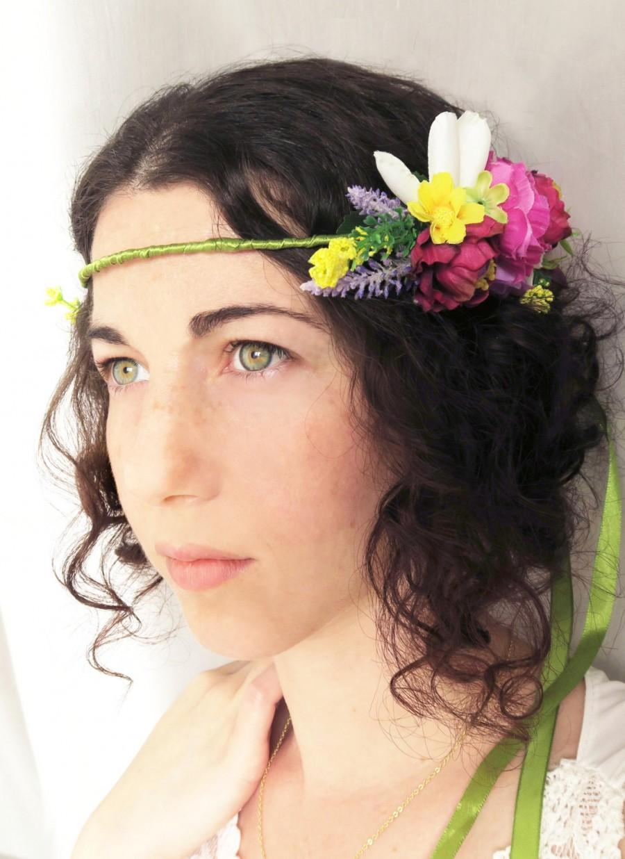 bridal hair wreath with fabric flowers, vintage bohemian style