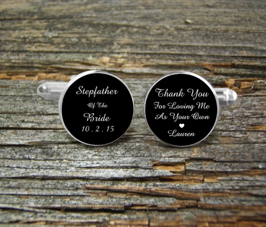Stepfather Of Bride Silver Or Gold Cufflinks Wedding Cufflink Box Jewelry Keepsake Gift Man Step Father Thank You For Loving Me