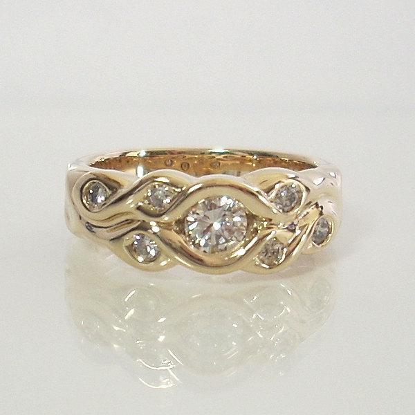 Modern Diamond Engagement Ring 14k Yellow Gold Size 7 Round