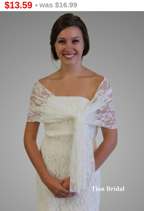 Easter Bridal Wrap Stole Ivory Lace Shawl Wedding Shrug Prom Scarf 9139 Ivy