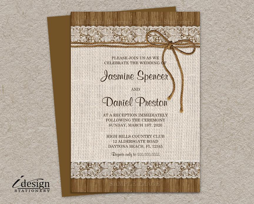 Rustic Wedding Reception Invitation Burlap Only Invitations Printable Lace